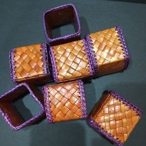 4 napkin rings - woven colorful squares